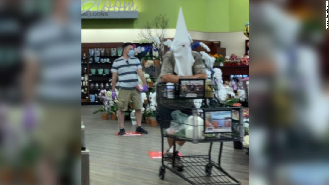 a customer at a southern California grocery store chose to wear what appeared to be a Ku Klux Klan hood throughout his shopping trip.