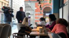 In Stockholm, working or chatting over coffee is still a daily activity.
