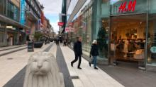 Stockholm's main shopping street was full of people.