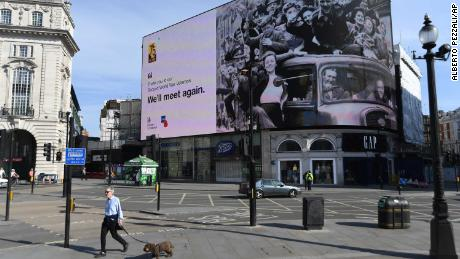 A tribute to VE Day is shown on Friday in London's Piccadilly Circus.