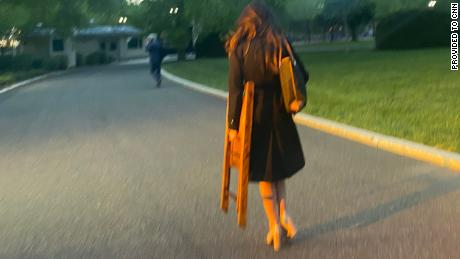 Correspondent OAN Chanel Rion saw a chair being transported on White House grounds