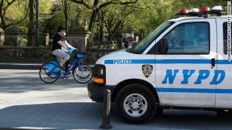 New York police patrol Central Park on May 2 to ensure that people comply with social distance protocols.