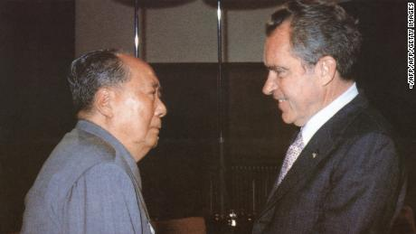 Chinese Communist President Mao Zedong welcomes American President Richard Nixon to his home in Beijing during Nixon's historic trip to China in 1972.