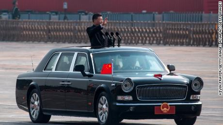 Chinese President Xi Jinping inspects troops during a parade to celebrate the 70th anniversary of the People's Republic of China on October 1, 2019 in Beijing.