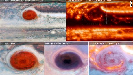 Several wavelength images of Jupiter's Great Red Spot reveal its secrets.