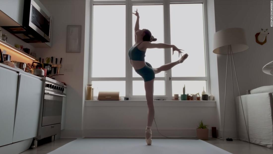 """Ballerina Isabella Boylston with the American Ballet Theatre performing """"The Swan"""" in support of the Swans for Relief initiative."""