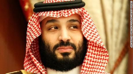 Crown Prince of Saudi Arabia Mohammed bin Salman is pictured during a meeting with the American secretary of state.