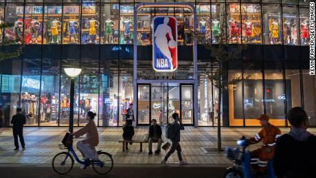 Pedestrians walking at the NBA flagship store in Beijing last October.