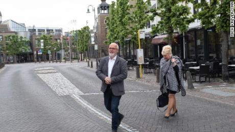 The twin mayors of Baarle: Frans de Bont, of Baarle-Hertog, in Belgium, and Marjon de Hoon-Veelenturf, of Baarle-Nassau, the Netherlands.