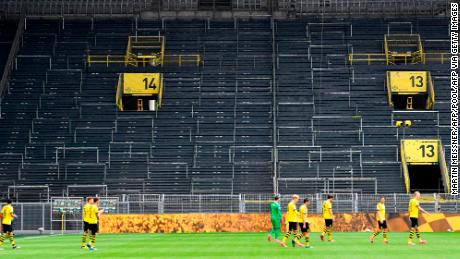 Borussia Dortmund's game against local rival Schalke 04 was played without fans on the return of football.