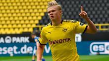 Erling Braut Haaland celebrates after scoring for Borussia Dortmund on Saturday.