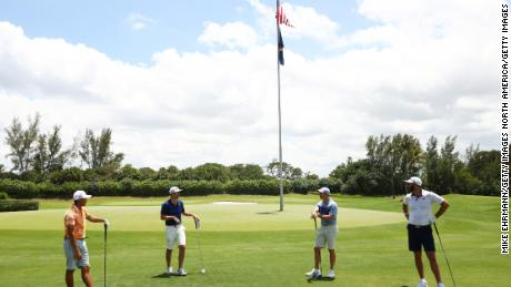 Rickie Fowler, Matthew Wolff, Rory McIlroy and Dustin Johnson compete in the TaylorMade Driving Relief match.