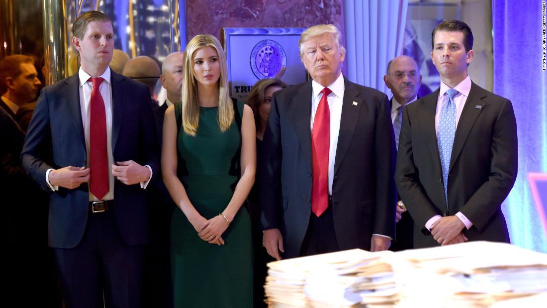 From left, Donald Trump, Ivanka Trump, Donald Trump, Jr., Eric Trump