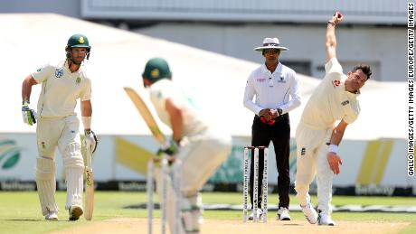 Anderson bowls during a Test Match against South Africa.