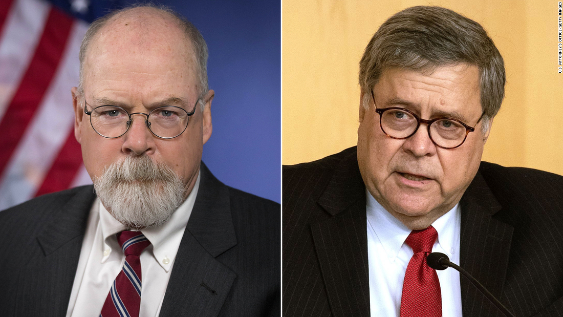 William Barr met with the prosecutor who is now examining the Russian probe shortly after the Mueller investigation is over, the documents reveal