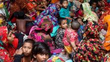 People gather in a cyclone center for protection before Cyclone Amphan landed in Gabura, on the outskirts of the Satkhira district, Bangladesh, on May 20.
