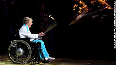 Margaret Maughan lights up the Paralympic cauldron ahead of the 2012 London Games.
