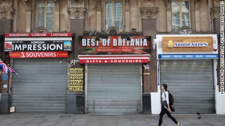 The shutters came down in the tourist shops closed in London on May 12th.