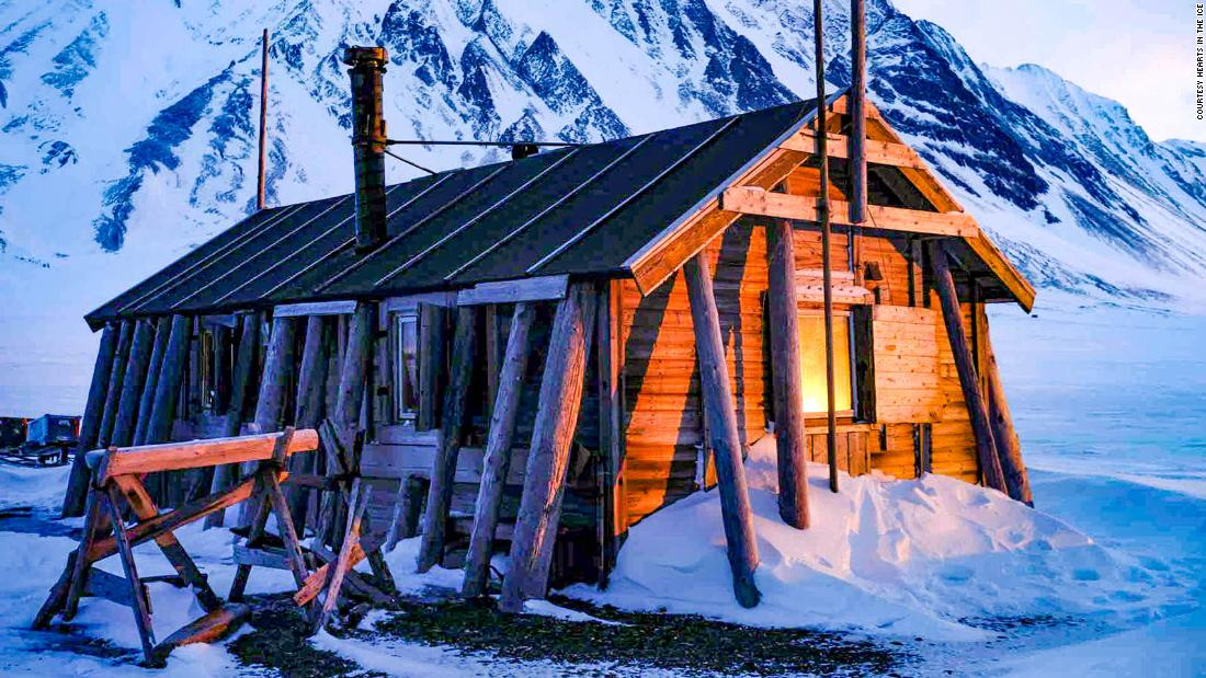 Arctic explorers locked in a small hut in the Svalbard archipelago in Norway