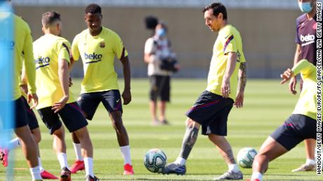 Lionel Messi and his teammates Barceloa take part in a training session at Ciutat Esportiva Joan Gamper earlier this week.