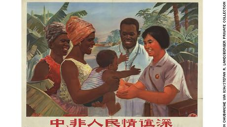 A Chinese propaganda poster promotes the medical assistance that Beijing offered to Africa during the 20th century.