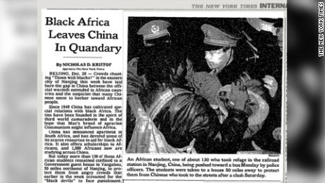 Coverage in the New York Times of the Nanjing accident in 1988.