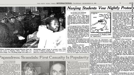 The New York Times reported night protests in Nanjing after Chinese students clashed with Africans.