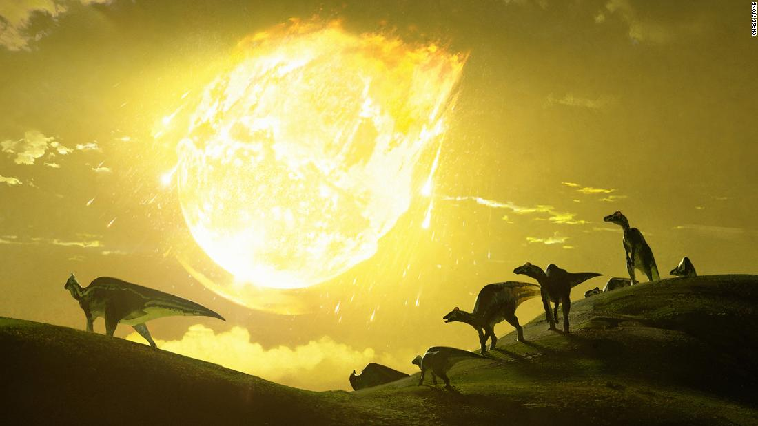 Artwork depicts the moment the asteroid struck in what is now Mexico 66 million years ago.