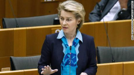 European Commission President Ursula von der Leyen speaks during a plenary session of the European Parliament in Brussels on 13 May.