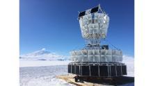 ANITA's 48 antennas face the Antarctic ice on a 25 foot high gondola.