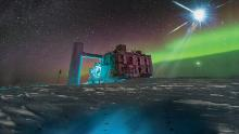In this artistic rendering, based on a real image of the IceCube Lab at the South Pole, a distant source emits neutrinos which are detected under the ice by the IceCube sensors.