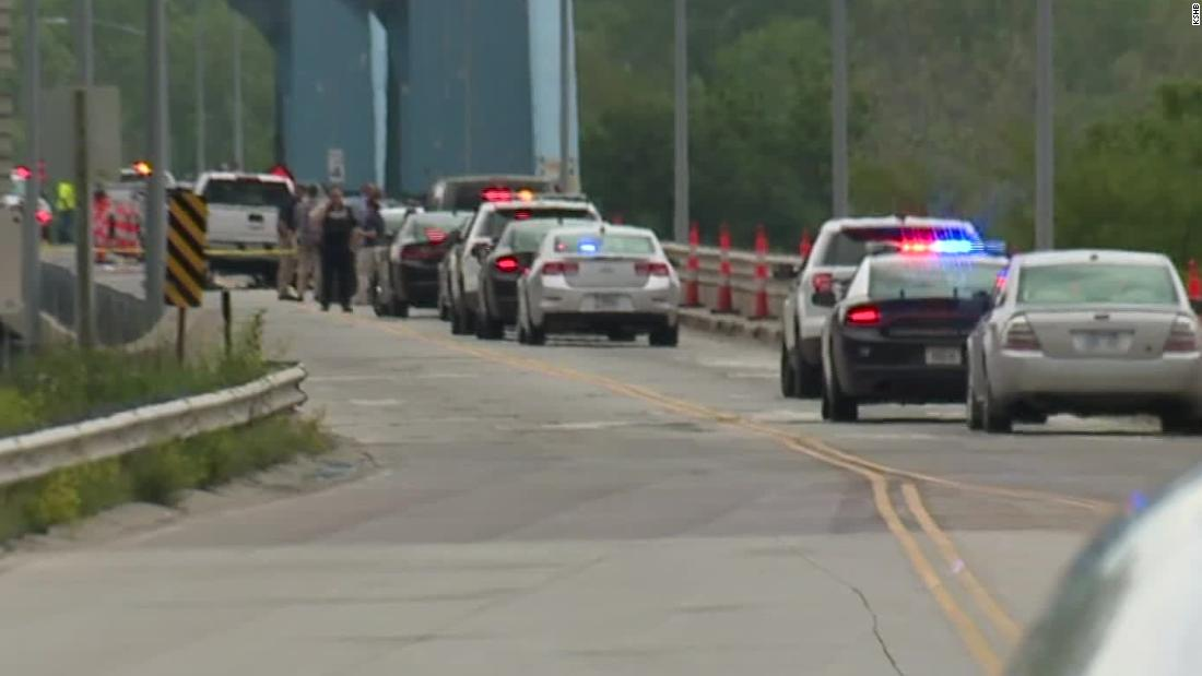Police at the scene of a shooting on the Centennial Bridge in Leavenworth, Kansas.
