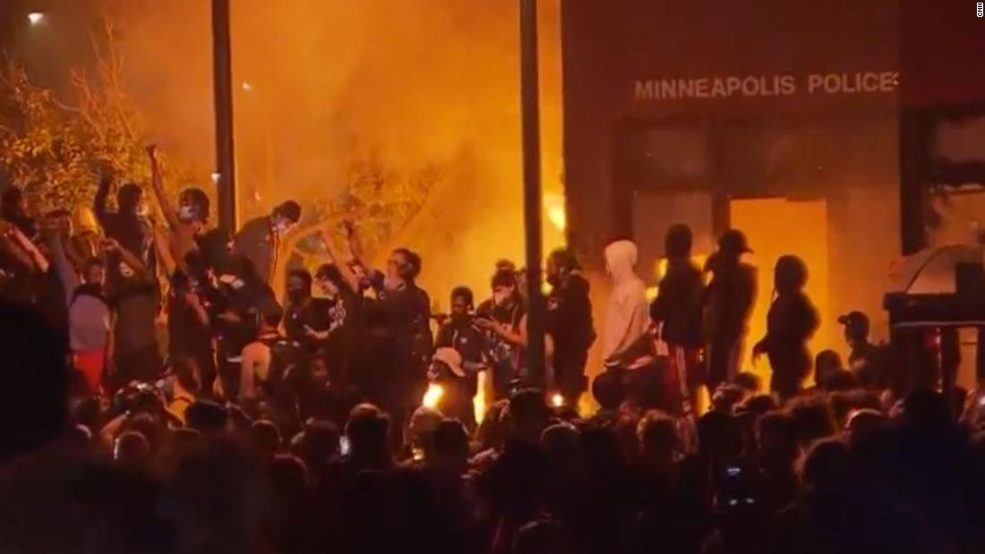 "MINNEAPOLIS, MN - MAY 27: A construction site burns in a large fire near the Third Police Precinct on May 27, 2020 in Minneapolis, Minnesota. A number of businesses and homes were damaged as the area has become the site of an ongoing protest after the police killing of George Floyd. Four Minneapolis police officers have been fired after a video taken by a bystander was posted on social media showing Floyd's neck being pinned to the ground by an officer as he repeatedly said, ""I can't breathe"". Floyd was later pronounced dead while in police custody after being transported to Hennepin County Medical Center. (Photo by Stephen Maturen/Getty Images)"