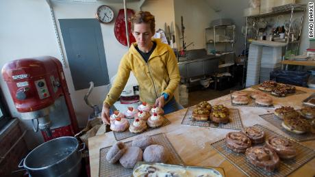 Rachel Wyman prepares baked goods in the kitchen of Montclair Bread Co.