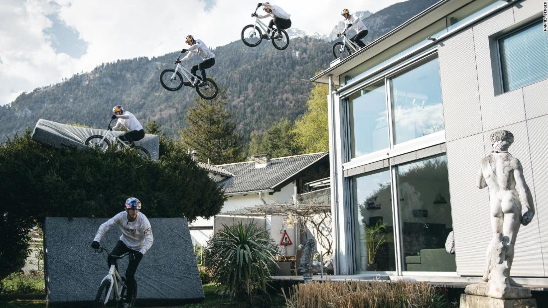 Fabio Wibmer doesn't let lockdown stop his cycling stunts
