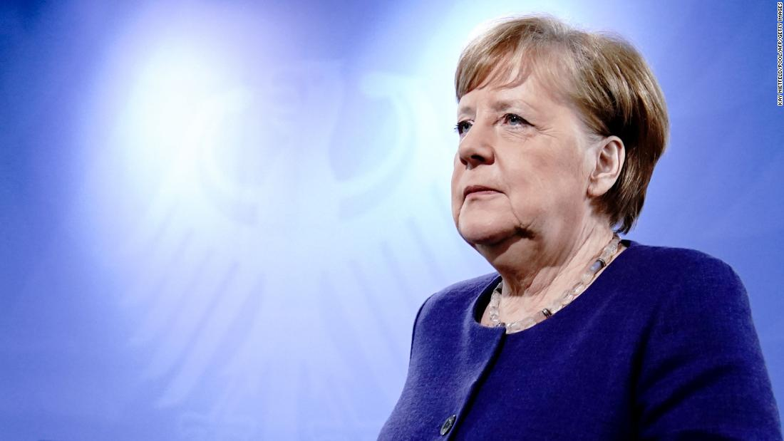 German Chancellor Angela Merkel arrives at a news conference in Berlin on April 23.
