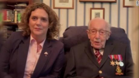 Tom Moore, veteran who raised $37m for UK health service, turns 100