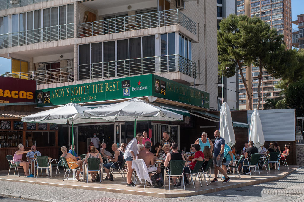 Customers in a bar in Benidorm, Spain, on 11 May.