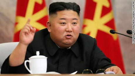 In this undated photo provided on Sunday, May 24, 2020, by the North Korean government, North Korean leader Kim Jong Un speaks during a meeting of military leaders. The content of this image is as provided and cannot be independently verified.