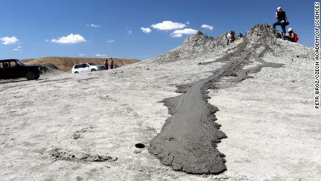 The researchers captured this image of mud flowing from a mud volcano in Azerbaijan.