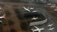 British Airways planes are parked in Heathrow.