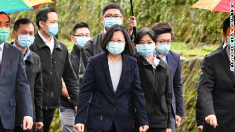 Taiwanese President Tsai Ing-wen arrives during a ceremony to unveil the Cyber Security Investigation Office in the new city of Taipei on April 24.