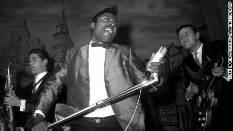Little Richard at his concert at the Hamburg Star Club, singing in the 1960s