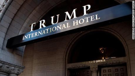 An exterior view of the entrance to the Trump International Hotel