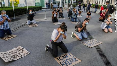 A flash mob meets outside the American consulate in Milan, Italy on May 28.