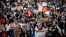 Thousands of people gather for a peaceful demonstration to protest racism in Vancouver on May 31st.