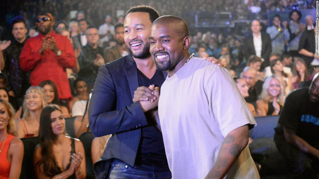 John Legend and Kanye West in 2015. (Photo by Jeff Kravitz/MTV1415/FilmMagic)