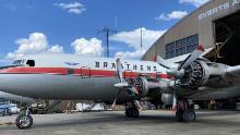 The Douglas DC-6B Cloudmaster prepares for his final flight to Fairbanks, Alaska in May.