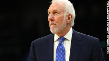 Popovich observes during the game against the Boston Celtics.