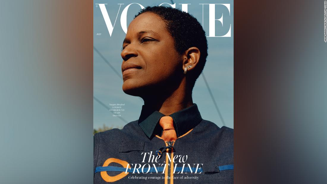 The July cover of British Vogue features a midwife, a machinist and a store clerk